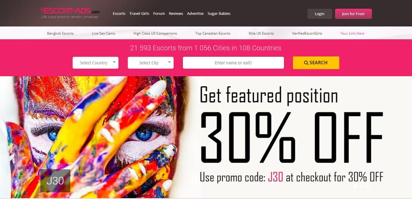 Escort-Ads.com review home page
