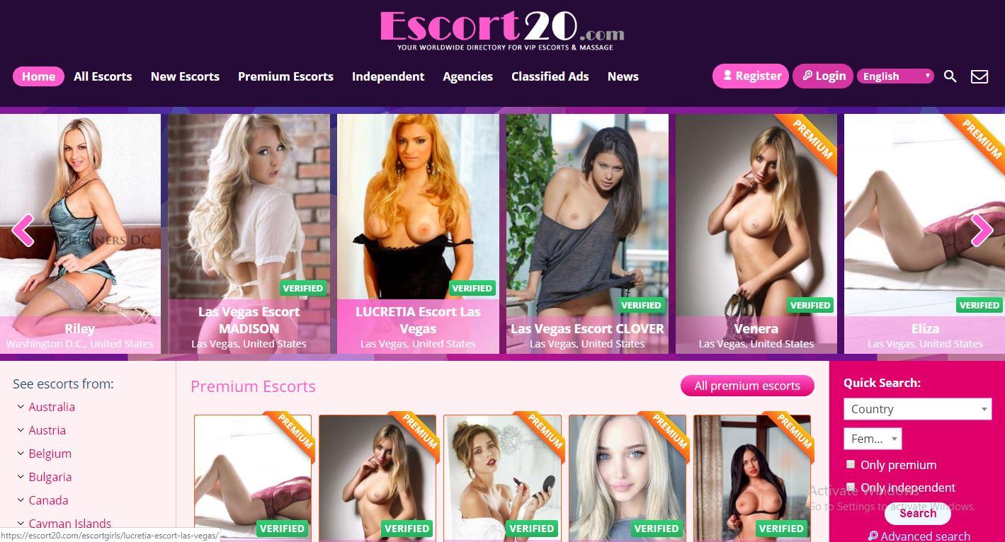 Escort20.com review home page