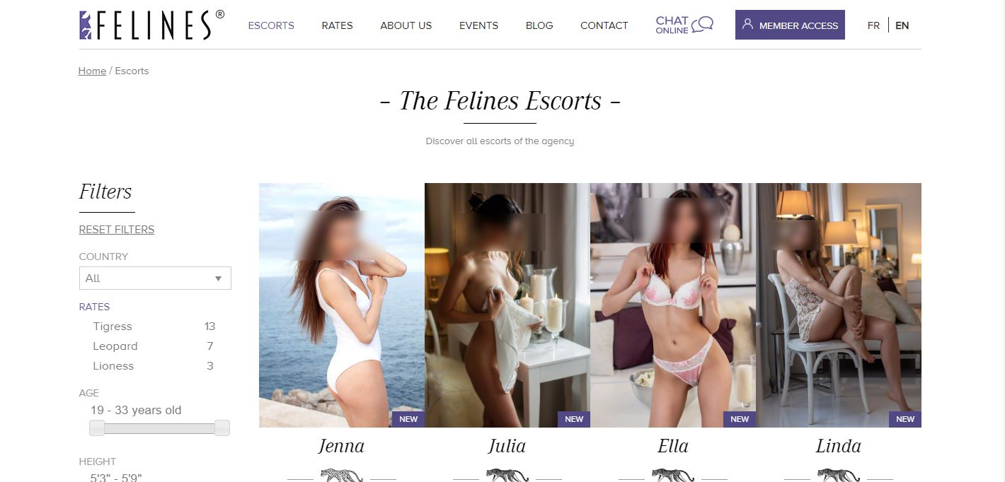 Felines Escort Review home page