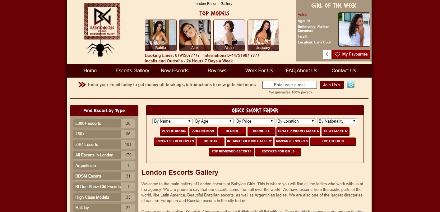 Babylon Girls Review homepage