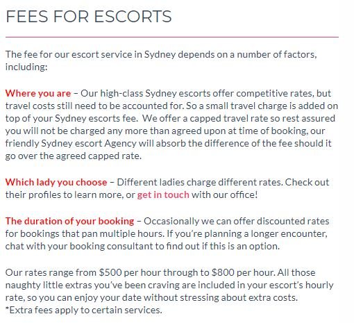 Select Sydney Escorts review fees