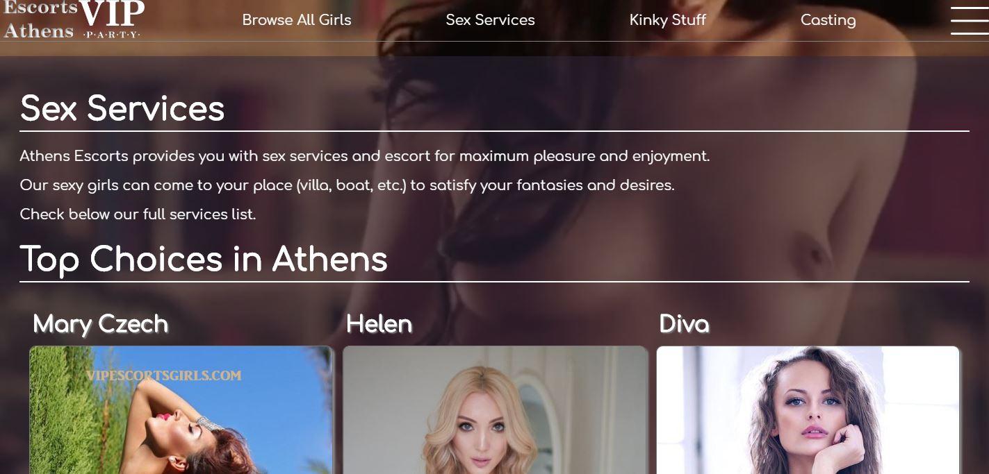 Escorts Athens review homepage screenshot