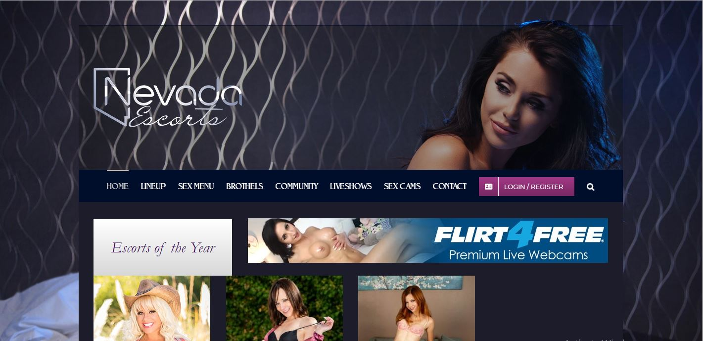 Nevada escorts review homepage screenshot