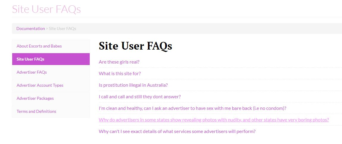 Escorts and Babes review site user FAQs